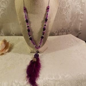 Purple dangle bohemian style necklace